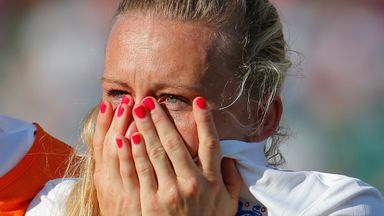 An inconsolable Laura Bassett at the final whistle