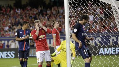 Wayne Rooney reacts to a missed chance against PSG at Soldier Field