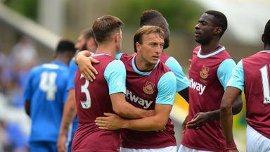 Mark Noble of West Ham celebrates scoring their first goal against Peterborough