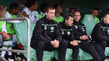 Celtic manager Ronny Deila on the bench at St Mirren Park