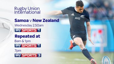 Samoa v New Zealand - Sky Sports 1 at 2.50am on Wednesday