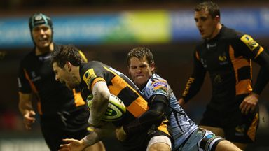 Tom Williams tackles  Elliot Daly of London Wasps during an LV Cup clash