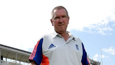 England coach Trevor Bayliss pictured in front of the Pavilion at Lord's to announce his Ashes squad
