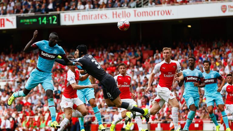 Petr Cech is beaten to the ball as Cheikhou Kouyate scores West Ham's opening goal at the Emirates
