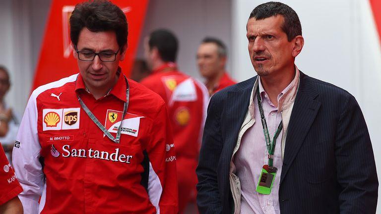 Ferrari's Mattia Binotto with Haas team principal  Guenther Steiner