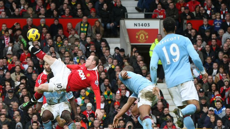 Wayne Rooney scores a sensational overhead kick against City in 2011