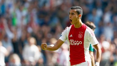 Anwar El Ghazi of Ajax celebrates scoring his second goal against ADO Den Haag