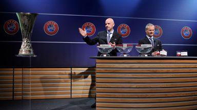 Gianni Infantino, UEFA General Secretary, and Giorgio Marchetti,  at the Europa League draw