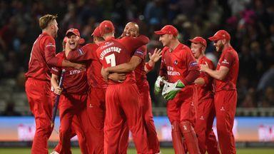 Lancashire Lightning celebrate their victory over Northamptonshire Steelbacks