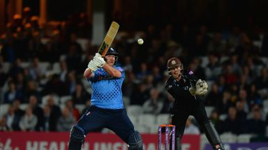 Matt Coles of Kent hits out against Surrey but his wonderful innings proved in vain