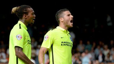 Brighton's Tomer Hemed celebrates scoring the winning goal