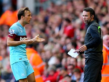 West Ham's Mark Noble questions why he has been sent off against Liverpool