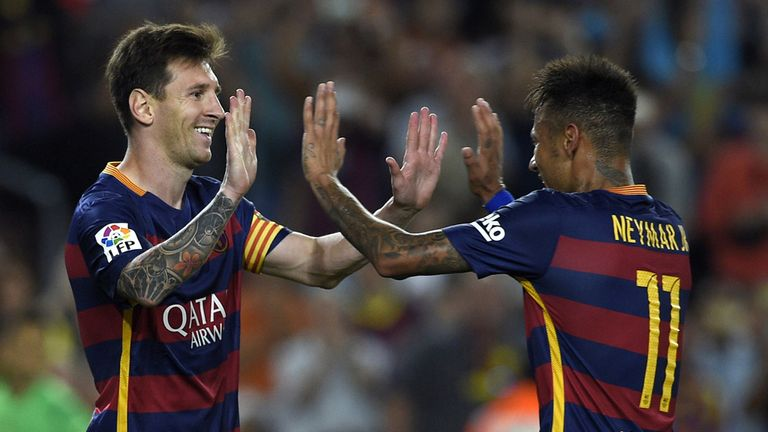 Messi and Neymar helped fire Barcelona to the treble last season