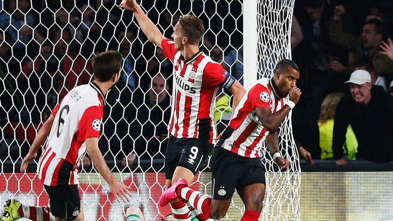 Luciano Narsingh of PSV Eindhoven celebrates scoring