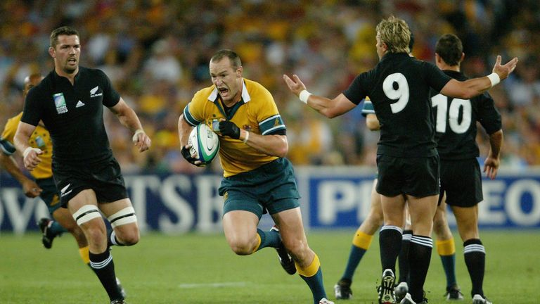 Stirling Mortlock intercepts the ball to score against New Zealand