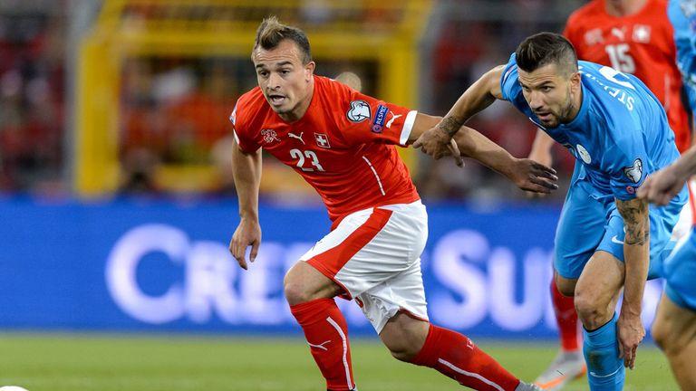 Switzerland midfielder Xherdan Shaqiri limped out of training on Thursday