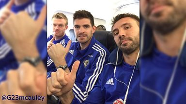 Gareth McAuley (r) tweeted this picture with Kyle Lafferty and Chris Brunt (l) on their way to the Faroe Islands