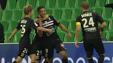 Hatem Ben Arfa is congratulated by team-mates after scoring against St Etienne.