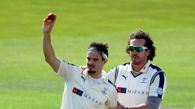 Jack Brooks (left) celebrates with Ryan Sidebottom (right) after taking five-wicket haul on another impressive outing for Yorkshire