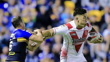 Andre Savelio is tackled by Danny McGuire during St Helens' Challenge Cup semi-final loss to Leeds