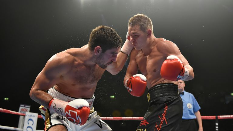Frank Buglioni (L) in boxing action against Fedor Chudinov (r) WBA World Super-Middleweight Title at the SSE Arena, Wemble
