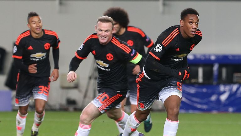 Anthony Martial (right) headed home an equaliser for Manchester United