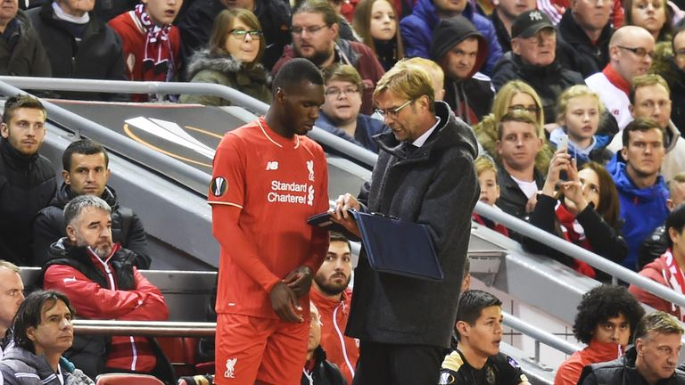 Jurgen Klopp (left) has used Christian Benteke mostly from the bench in 2016