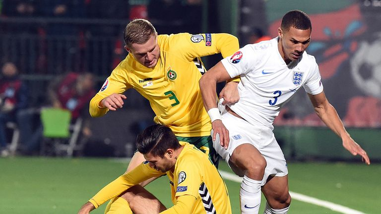 Kieran Gibbs (right) played the full 90 minutes for England
