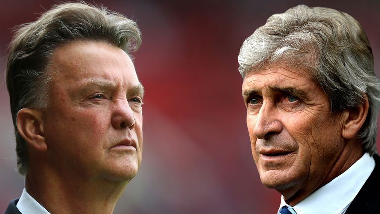 Louis van Gaal takes on Manuel Pellegrini at the Etihad Stadium