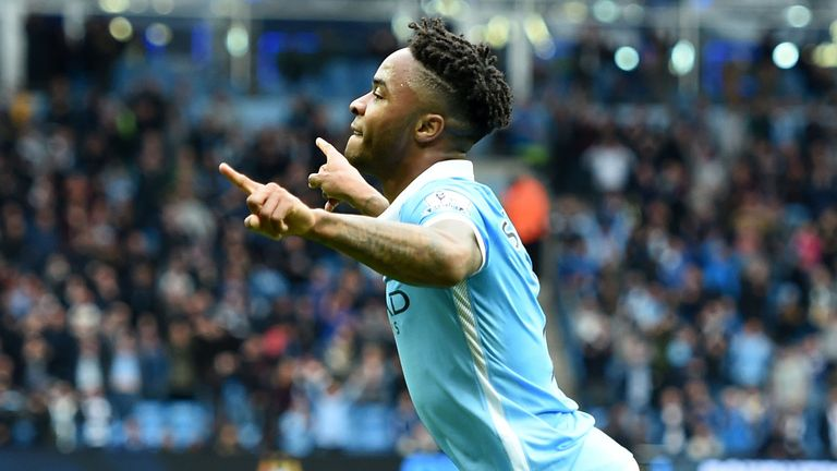 Raheem Sterling celebrates completing his hat-trick against Bournemouth
