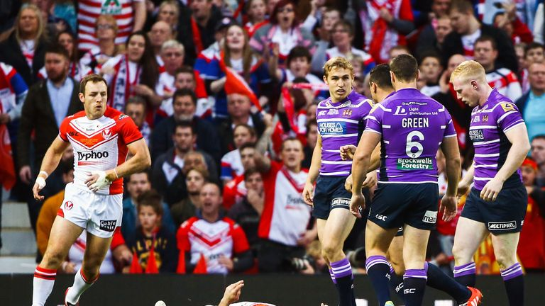 Less than two minutes into the 2014 Grand Final St Helens' Hohaia lay unconscious from a Flower punch