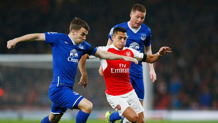 Seamus Coleman and Alexis Sanchez battle in the reverse fixture at the Emirates Stadium