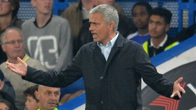 Chelsea manager Jose Mourinho gestures during the English Premier League football match between Chelsea and Southampton