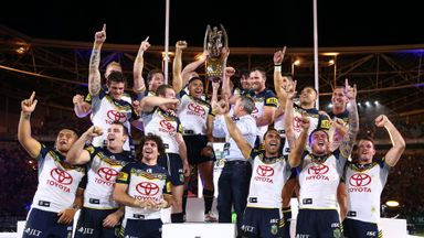 North Queensland Cowboys celebrate after winning the NRL Grand Final