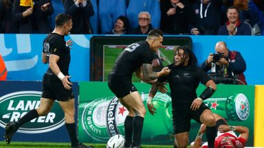 Centurion Ma'a Nonu (right) is congratulated by Sonny Bill Williams after scoring New Zealand's seventh try