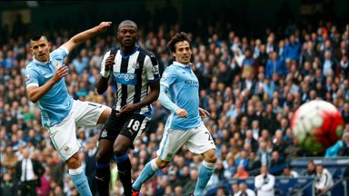 Sergio Aguero (left) scored five goals in 23 minutes either side of half-time for City