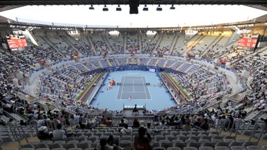 A general view shows a match between Serena Williams and Kaia Kanepi during the China Open at the National Tennis Center