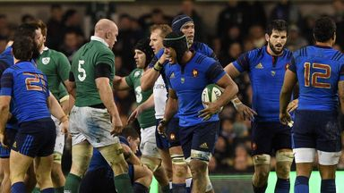 France captain Thierry Dusautoir (centre) reacts during this year's Six Nations clash loss to Ireland
