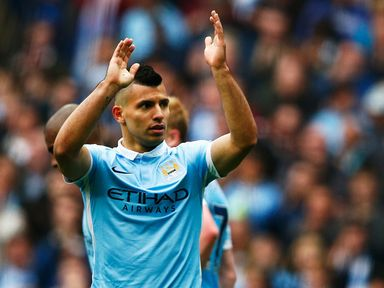 Sergio Aguero of Manchester City celebrates scoring his fourth and team's fifth goal