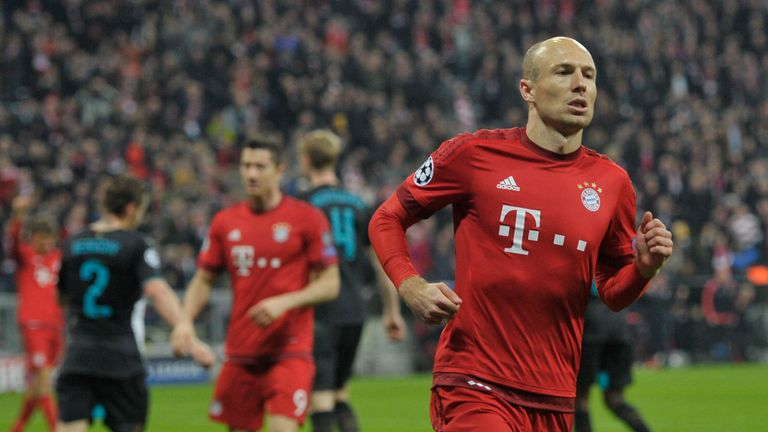 Arjen Robben celebrates Bayern's 5-1 Champions League win over Arsenal in November