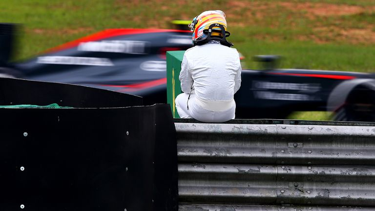 Alonso spent plenty of time stranded at the side of tracks in 2015