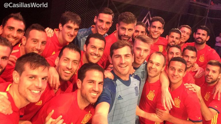 Iker Casillas posted this photo of the Spain team modelling their new kit
