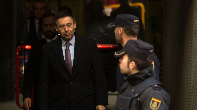 Barcelona president Josep Maria Bartomeu leaves Spain's High Court earlier this year