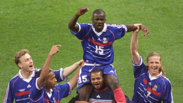 Lilian Thuram (centre) was a key player for France at the 1998 World Cup