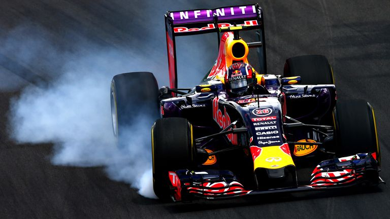 Daniil Kvyat stuck with the old engine and finished seventh