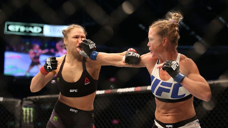 Holly Holm (right) shocked the world by defeating Ronda Rousey in November 2015