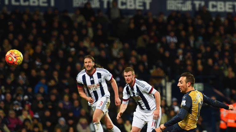 Santi Cazorla misses a chance from the spot to level for Arsenal at West Brom last weekend
