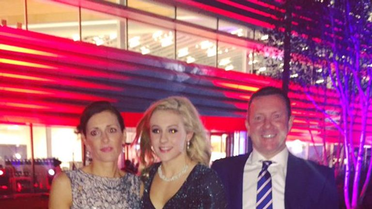 Siobhan at the Sportswomen of the Year awards with mum and dad