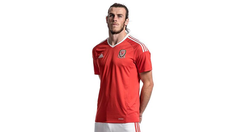 Gareth Bale models Wales' kit for Euro 2016, sponsored by adidas