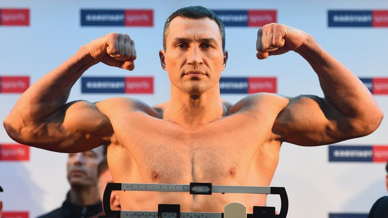 Wladimir Klitschko of Ukraine poses after the weigh in